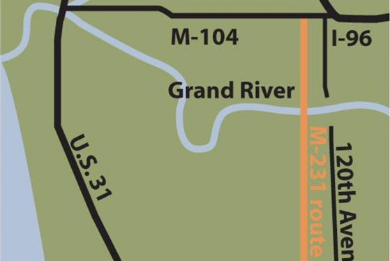 A map of the US-31 M-231 Holland to Grand Haven Bypass